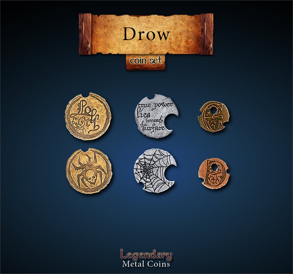 Legendary Metal Coins Season 4 by Drawlab - Drow Coin Set