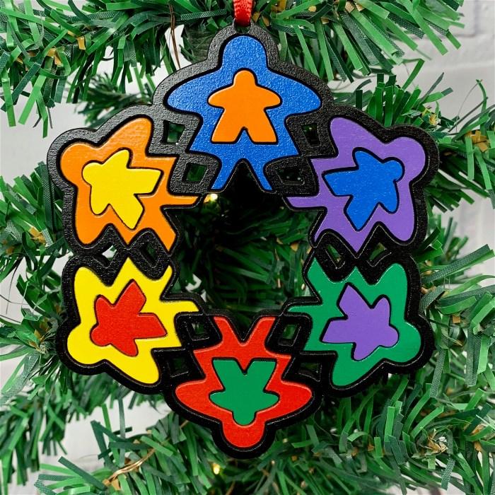 Colorful Meeple Snowflake Ornament