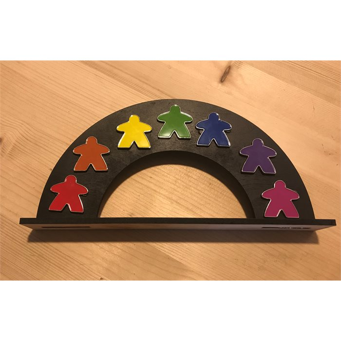 Enamel Meeple Pin Rainbow Set With Display Stand