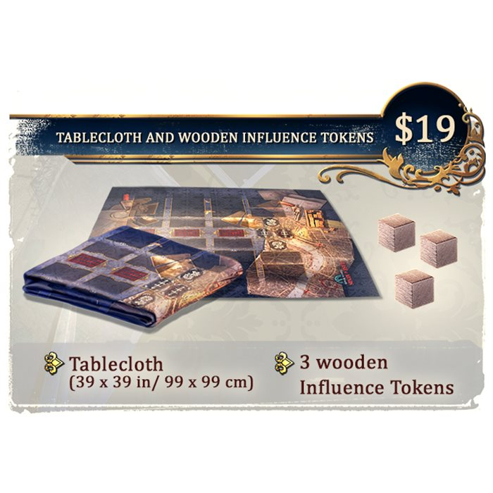 TABLECLOTH AND WOODEN INFLUENCE TOKENS