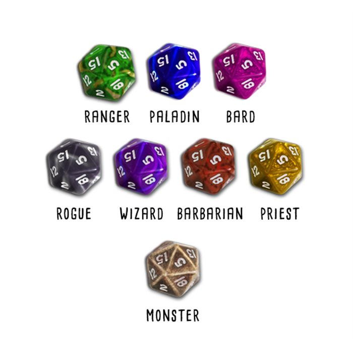 8 Class themed dice