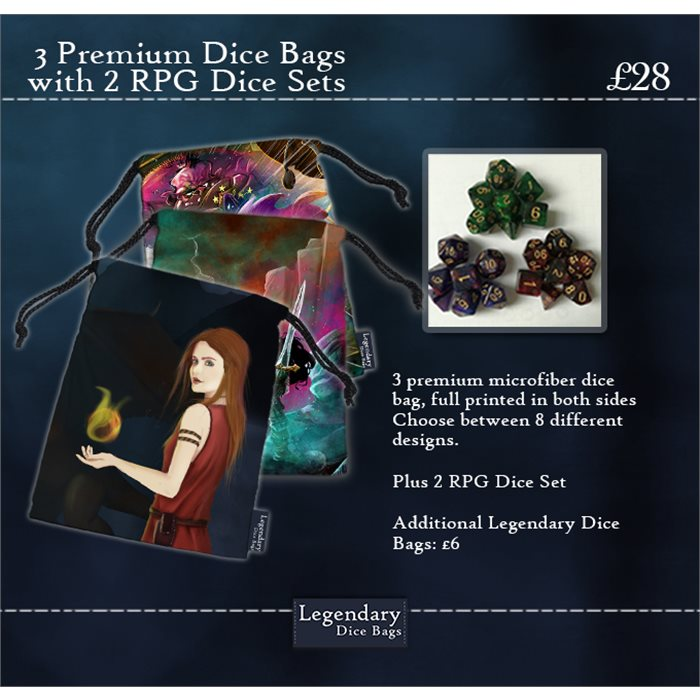 3 Premium Dice Bags And 2 RPG Dice Sets