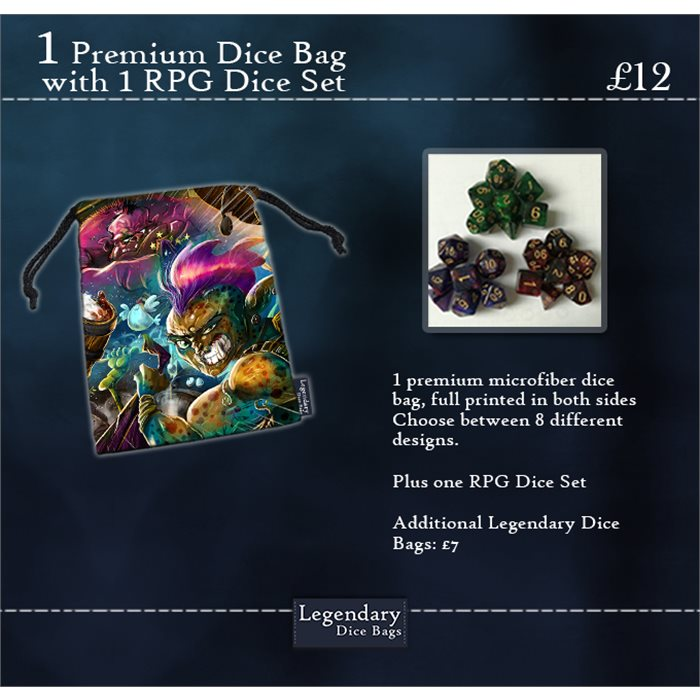 Premium Dice Bag and RPG Dice Set
