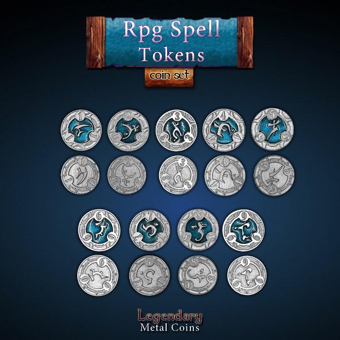 RPG Spell Tokens - BLUE