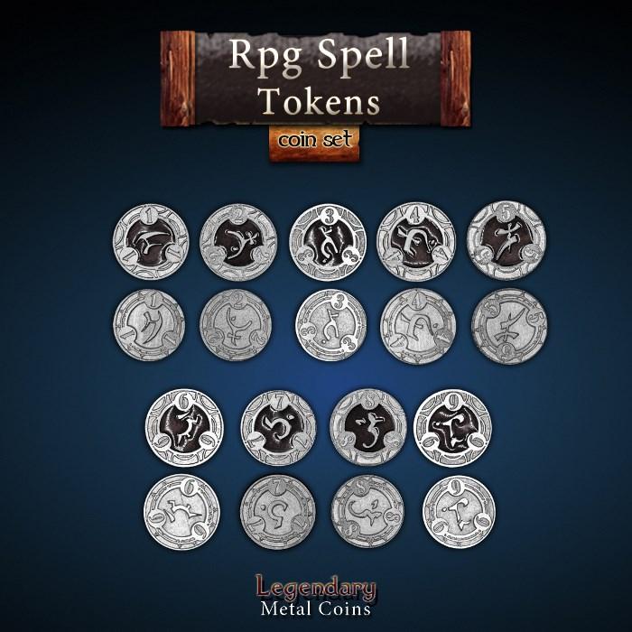RPG Spell Tokens - Black