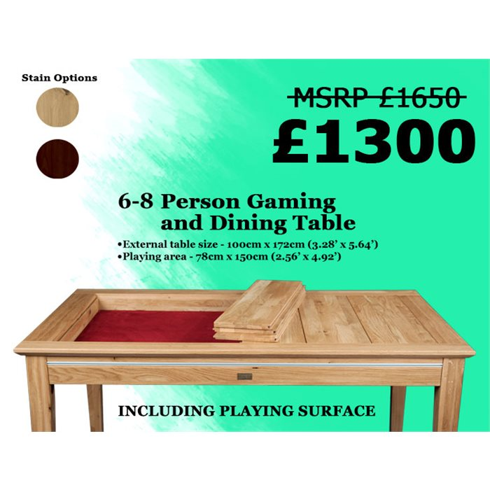 LP 6-8 person Megan Dining and Gaming Table